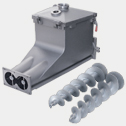 Screw conveyor trough with helical screws